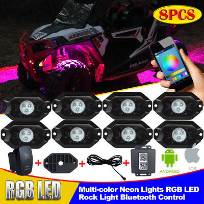HALLOWEEN 8x Pod RGB LED Rock Light inner Neon Glow Lamp Bluetooth Control Music