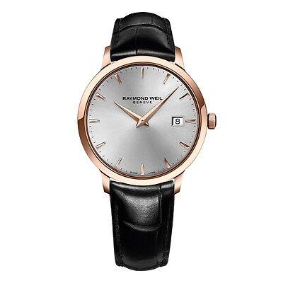 RAYMOND WEIL Toccata Mens Rose Gold & Black Leather Swiss Quartz Watch NEW! $850