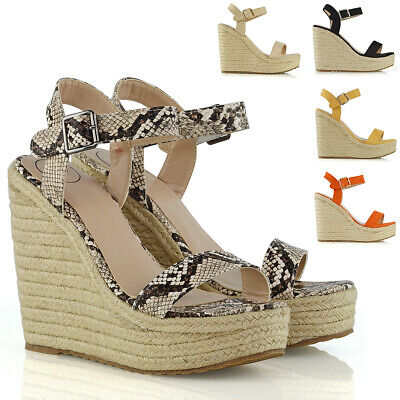 Ankle Strap High Wedge (Womens High Wedge Heel Platform Sandals Ladies Espadrille Ankle Strap Shoes Size)