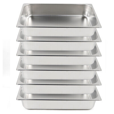 6 Pack 24 Full Size Deep Food Pan Stainless Steam Table Catering Buffet Pans