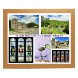 New Print of The Parish Church Of St Peter Llanbedr Ystrad Yw in Powys Wales Size 20 x 16