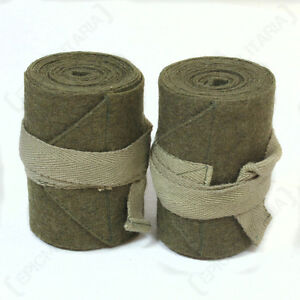 WW2 BRITISH ARMY PUTTEES Repro Pair Green Wool Wraps 145cm Length