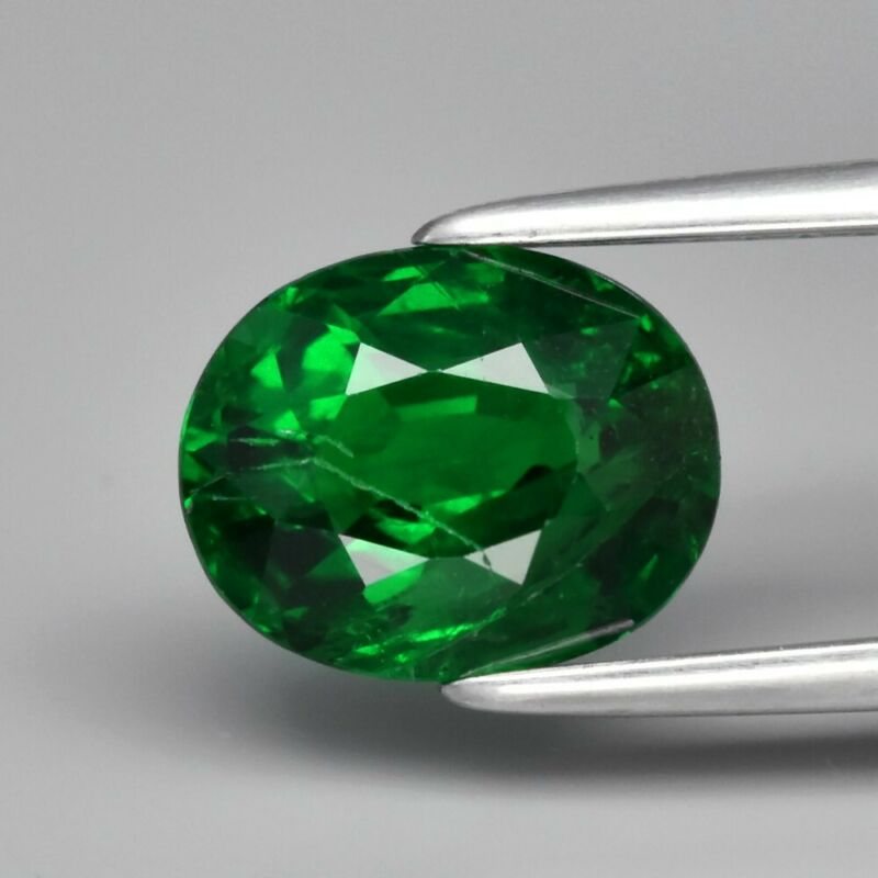 1.72ct 7.7x6.3mm Oval Natural Shamrock Green Color Tsavorite Garnet, Tanzania