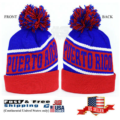 Puerto Rico winter hat Design Royal Red Pom Knitted Cuffed Beanie Skull Cap -