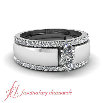 1 Carat Marquise Cut Solitaire Engagement Rings With Matching Wedding Bands GIA