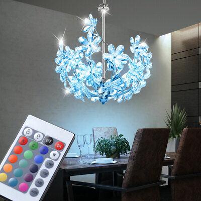 Lujo LED Techo Colgante Péndulo Lámpara RGB Control Remoto Lámpara Araña Flores
