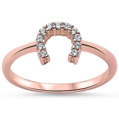 Gold Plated Sterling Silver Horseshoes (Rose Gold Plated Cz Horse Shoe .925 Sterling Silver Ring Sizes 3-12 )