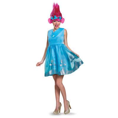 Womens Trolls Princess Poppy Costume with Wig