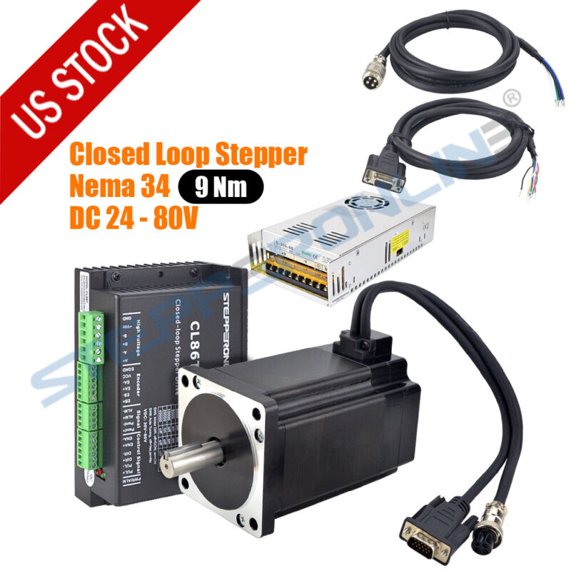 9Nm Nema34 Closed Loop Stepper Motor Servo Driver 350W Power Hybrid Encoder Easy
