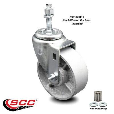Semi Steel Swivel Threaded Stem Caster Wroller Bearing - 4 Wheel 10mm Stem
