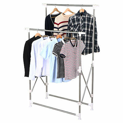 Heavy Duty Collapsible Adjustable Clothing Double Rail Garment Rack Hanger Us