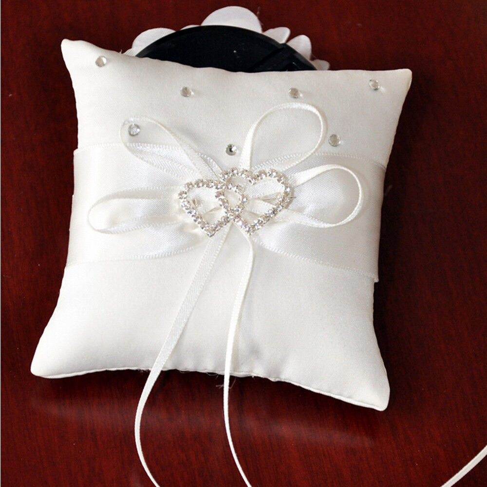 White Double Heart Bridal Ring Bearer Pillow Wedding Party