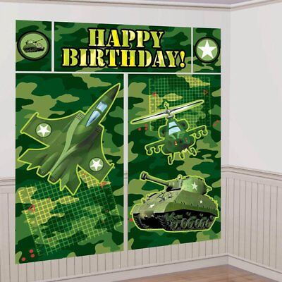 CAMO SCENE SETTER Camouflage Birthday Party Decorations Army Backdrop Jet Tank - Camo Decorations