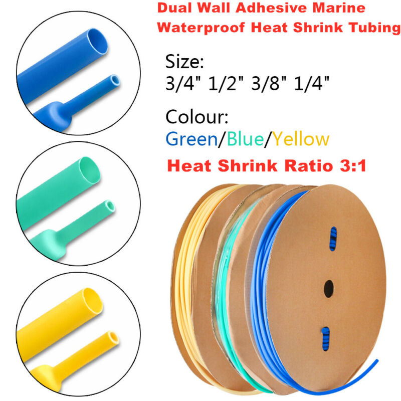 Heat Shrink Tubing 3:1 Shrink Ratio Waterproof Adhesive Glue Lined Marine Grade