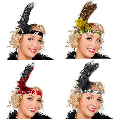 1920s Sequin Flapper Headband Ladies Girls Fancy Dress Mob Gangster Theme Hen (1920 Girl Gangster)