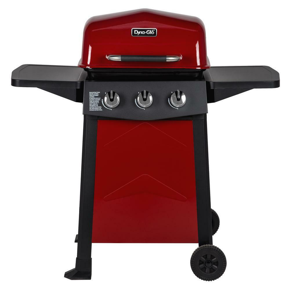 Dyna-Glo 3-Burner Open Cart Propane Gas Grill in Red Porcela