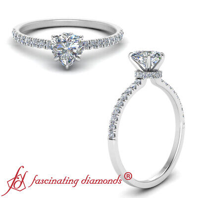 1.25 Carat Heart Shaped Diamond Under Halo Engagement Ring With Round Accents
