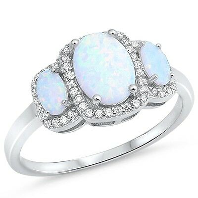 Created White Opal Stone - Lab Created White Opal Oval 3 Stone Halo CZ .925 Sterling Silver Ring Sizes 5-10