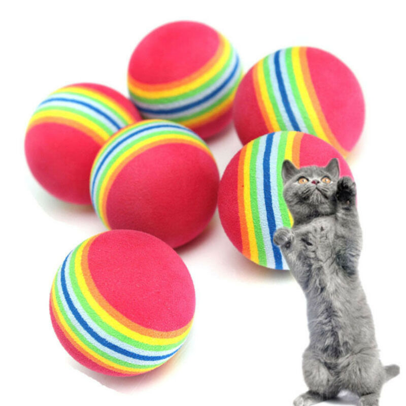 10Pcs 3.5 cm Lovely Puppy Dog Cat Toy Rainbow Ball Pet Toy Pet Supplies
