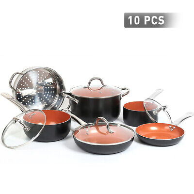 FGY 10 Pcs Cookware Copper Pan Set Nonstick Chef Skillet Frying Pan Saucepan Chefs Copper Sauce Pan