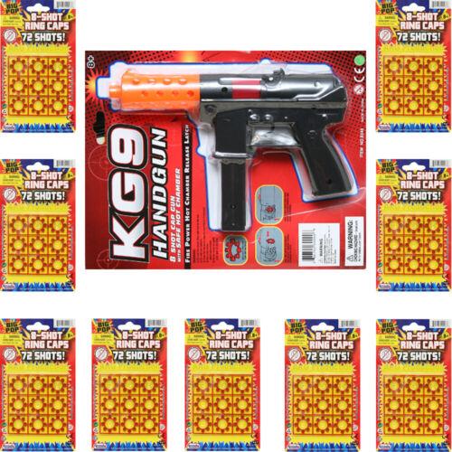 Super Bang Ring CAPS 9 Packs + 1 Cap Gun Toys - 8 Shots FIRES 648 shots Bundle