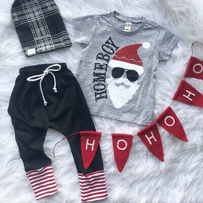 Newborn Santa Outfit Boy (US Stock Newborn Infant Baby Boy Christmas Santa Claus Clothes Tops Pants)