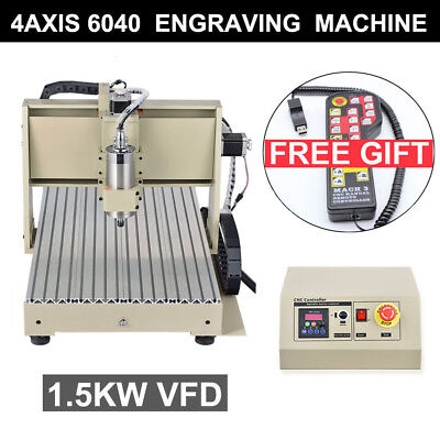 1500w 4 Axis Usb 6040 Cnc Router Engraver 3d Engraving Machine Wood Pvc 3drc