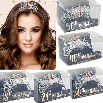 Happy Birthday Plastic DiamanteTiara Crown Rose Gold 18/21st/30/40/50th Party