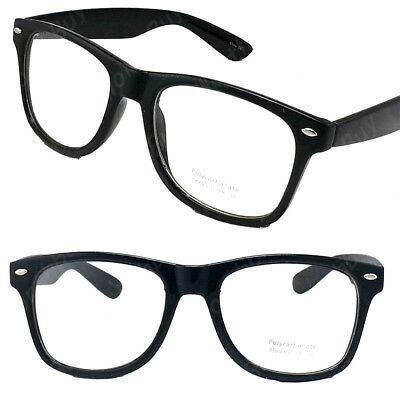 New Mens Women Clear Lens Cat Eye Black Frame Fashion Glasses Nerd Retro Eyewear