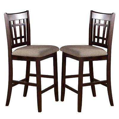 2 pc - Dark Rosy Brown Wood Dining Counter Height High 24