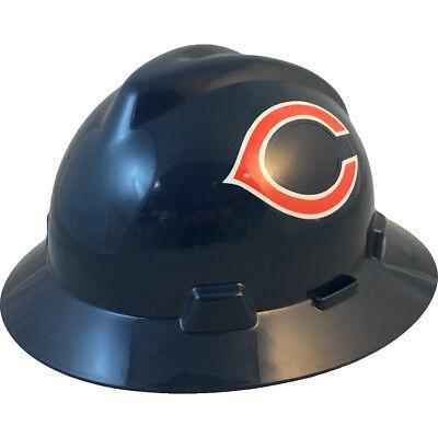 "MSA V-Gard FULL BRIM CHICAGO ""BEARS"" NFL Hard Hat Type 3 RATCHET Suspension"