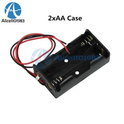 10pcs Plastic Battery Storage Case Box Holder For2 X Aa 2xaa 3v With Wire Leads