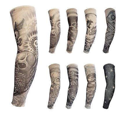 8pcs Skeleton Skull Fake Tattoo Nylon Elastic Arm Sun Skin Protection Sleeve USA - Fake Skeleton