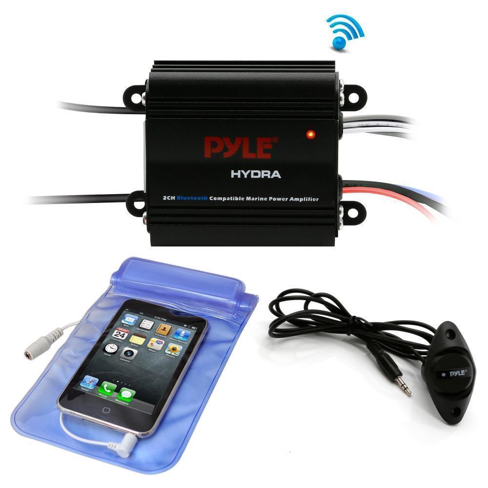 Pyle PLMRMB2CB Bluetooth Marine Amplifier Kit, 2-Ch. Waterpr