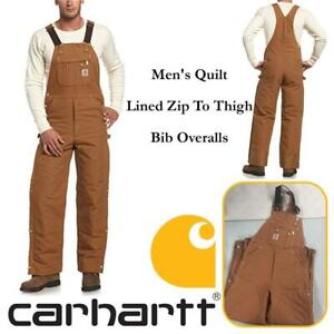 NEW Carhartt Mens Quilt Lined Zip To Thigh Bib Overalls Condtion: New, 32W x 30L, Brown