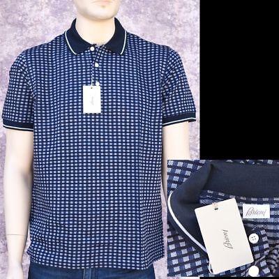 BRIONI New sz XXL 2XL Auth Designer Mens Luxury Cotton Plaid Polo Shirt blue
