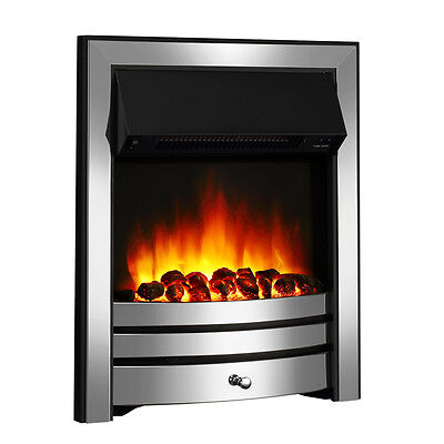 Endeavour Fires Roxby Inset Electric Fire, Chrome Trim & Fret, Remote Control