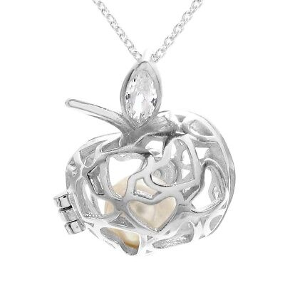 925 Sterling Silver 0.15 Carat CZ Leaf Apple Heart Pearl Cage Pendant & Necklace