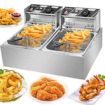 5000w Electric Deep Fryer 12 Liter Commercial Tabletop Restaurant Fry Basket Us