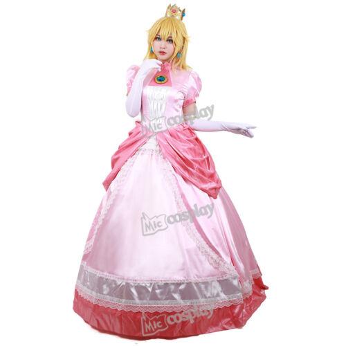 Princess Peach Cosplay Costume Adult Women Girl Halloween Pink Fancy