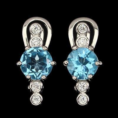 4.40ct  Swiss Blue & White Topaz Lever-back Earrings in 925 Sterling Silver