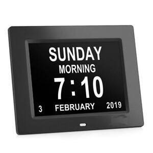 NEW 8 IN DIGITAL CALENDAR DAY CLOCK EXTRA LARGE IMPAIRED VISION DC84872