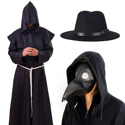 Plague Doctor Cosplay Costume Steampunk Medieval Hooded Robe Mask Hat Dr Plague