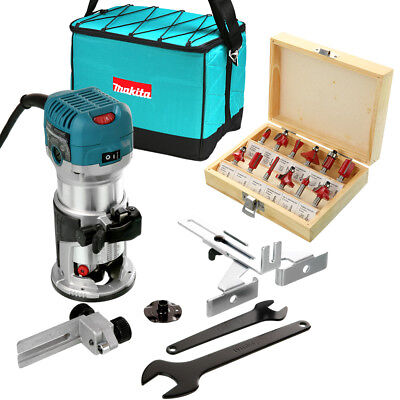 """Makita RT0700CX4 Router/Laminate Trimmer 240V With 1/4"""" 12 Pcs Cutter Set & Bag"""