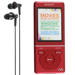 NEW-Sony-Walkman-4GB-E-Series-Video-MP3-Player-NWZ-E473-Red-Media-Radio-Music