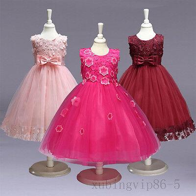 Princess Communion Dresses (Kids Girl Tie Bow Lace Princess Occasion Wedding Party Pageant Communion)