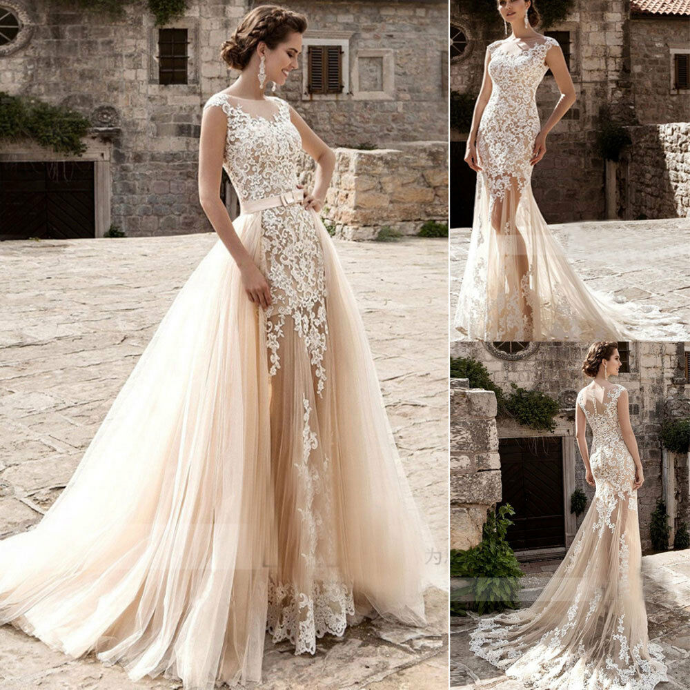 Champagne Mermaid Wedding Dresses With