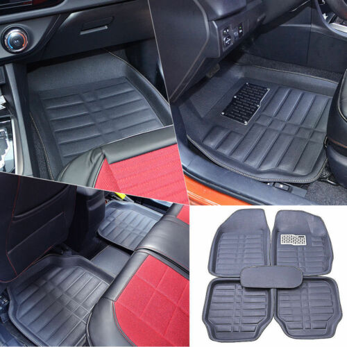 Details About 5pc Black Car Floor Mats Front Rear Carpet Waterproof Skidproof Easy To Clean