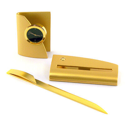 Gold Plated Concerto Gift Set Clock, Card Holder & Letter Opener OL-9763G Gift Set Clock