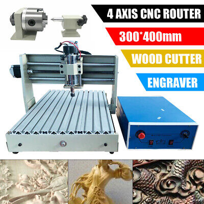 2x 4 Axis Cnc 3040t Router Engraver Metal Carving Woodworking Milling Machine Ce